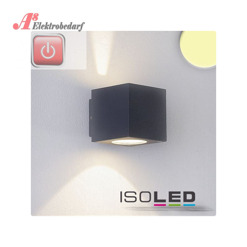iso112190 led wandleuchte up down ip54 2x3w cree anthrazit w. Black Bedroom Furniture Sets. Home Design Ideas